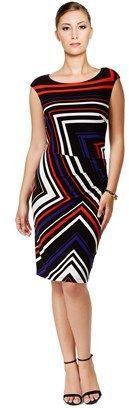 Tommy Hilfiger Chevron Print Ruched Sheath Dress.