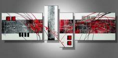 Tableau moderne rouge et blanc abstrait