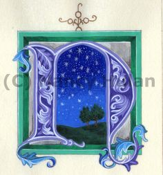 Alphabet Letter N, Medieval Illuminated Letter with Frame, Painted Initial