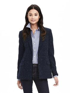 Speckled Navy Hacking Jacket..would not wear with a collared shirt (boring).