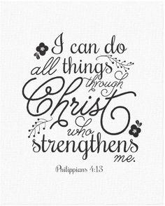 Philippians 4:13 Bible Verse Scripture Canvas Print & Gift Idea