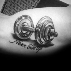 Top 60 Best Crossfit Tattoos For Men - Workout Ink Design Ideas Sport Tattoos, Music Tattoos, Trendy Tattoos, New Tattoos, Tattoos For Guys, Cool Tattoos, Tatoos, Brother Tattoos, Dumbbell Tattoo