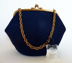 Navy Wool Handbag with Chain Strap & Original Tag. $48.00, via Etsy.
