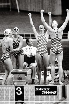 The US Women's 4x100 metres Freestyle Relay team, consisting of Kim Peyton,  Shirley Babashoff, Wendy Boglioli and Jill Sterkel, are jubilant as they celebrate their unexpected victory over the all-conquering East Germans during the Montréal 1976 Olympic Games. It was the only Gold medal for the American women during the swimming program at Montréal.