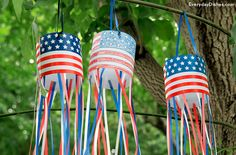 This patriotic windsock craft is easy for kids to assemble with printables, tape and ribbon.