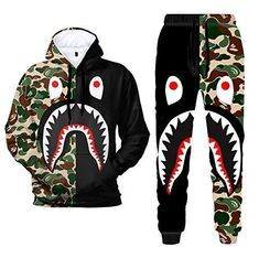 3D Print Camo Shark Hoodies and Pants Fashion Causal Sport Suit for Men WomenMaterial:Polyeste Bape Jacket, Black And White Suit, A Bathing Ape, Sport Pants, Fashion Pants, Fashion Hoodies, Mens Fashion, Sport Casual, Unisex