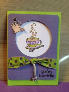 I like the purple and green combination on this simple card using Fiskars Latte Love stamps.