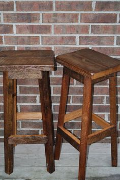 "Your Rustic And Reclaimed Rectangle Oak Barn Wood Bar Stool With 24""-36"" Tall…"