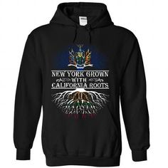 New York grown with California roots T Shirts, Hoodies. Get it here ==► https://www.sunfrog.com/States/New-York-grown-with-California-roots-1337-Black-36687993-Hoodie.html?41382 $39.95