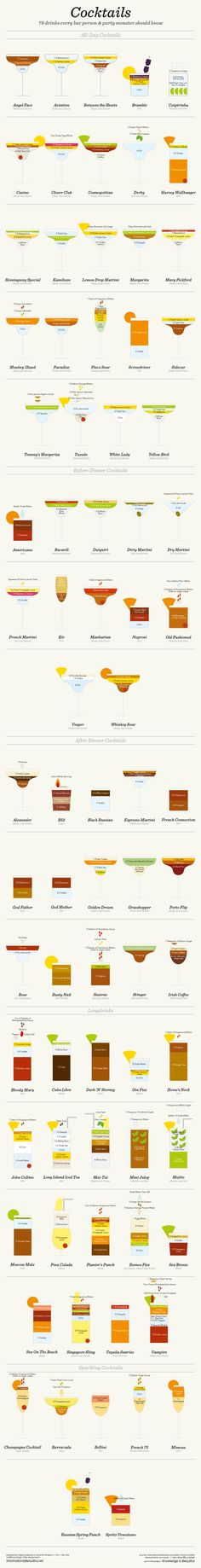 You don't have to be a bartender or a mixologist to pour a decent cocktail. You do, however, need to know what goes into it. This cheat sheet shows you how much of which ingredients to put in over 75 different, delicious cocktails.