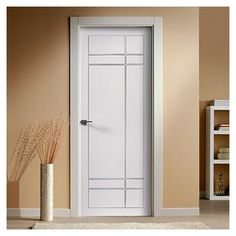 """The beautiful prefinished San Rafael Lacada 940 Door with """"D"""" groove design. Modern Wooden Doors, Wooden Front Doors, Interior Door Styles, Door Design Interior, Internal Doors Modern, Shabby Chic Colors, Bedroom Door Design, Flush Doors, House Front Door"""