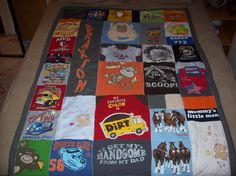 Quilt made from baby clothes- I saved all the boys favorite outfits, blankets, hats, etc just for this idea one day! Now 7 years later I am going to start it!!