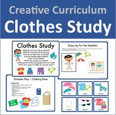 Clothes Study (Creative Curriculum) by iheartpreschool Creative Curriculum Preschool, Preschool Lesson Plans, Preschool Themes, Creative Teaching, Preschool Classroom, Preschool Forms, Kindergarten, Teach Preschool, Teaching Strategies Gold