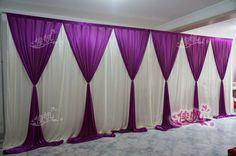Nueva moda 10ft * 20ft boda telón púrpura de la boda telón de fondo con Beatiful Purple boda botín cortina cortina y