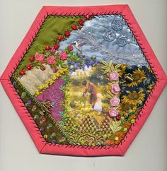 Viv's Crazy Quilting Journey: Hexies 16 and17 Completed