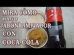 !!!!POTENTE JABÓN LIMPIADOR con COCA-COLA, ABRILLANTA, LIMPIA, DESINFECTA, QUITA LA GRASA - YouTube Coca Cola, Coco, Cleaning, Drinks, Bottle, Videos, Tips, Youtube, Handmade Soap Recipes