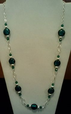 Handmade Beaded Necklace with Teal Silver by KimsSimpleTreasures