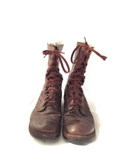 Own an excellent piece of history with these VINTAGE #Endicott-Johnson military boots from the Korea War era.  These brown leather soft toe jump boots. The size is a male si... #etsysale #shopsmall #vintageshop #vintagelife #vintagelover #clothing #shoes #men #endicott-johnson
