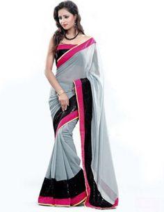 68e949da53a2a Aksh Fashion Embroidered Fashion Handloom Georgette Saree(Multicolor)  Chiffon Saree