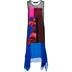 Thakoon Printed Floral Silk Patchwork Scarf Hem Dress (6.600 RON) ❤ liked on Polyvore featuring dresses, blue sleeveless dress, colorblock dress, silk floral dress, sheer-panel dresses and see-through dresses