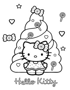 Hello Kitty With Candies Coloring Pages Printable And Book To Print For Free Find More Online Kids Adults Of