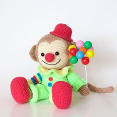 Tonight Im performing my new show for the first time! Its something with balloons. (And maybe also something with a flower squirting water.) Happy the monkey by #weiweiancrochet is a part of #amigurumianimalsatwork. #amigurumipatterns #amigurumibook #circus #crochet #crochetersofinstagram #animalsatwork #diy #crafts #amigurumi