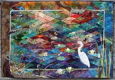 Pond Life.......from a class with Jan Krentz.  This quilt was included in her book 'Diamond Quilts and Beyond'.