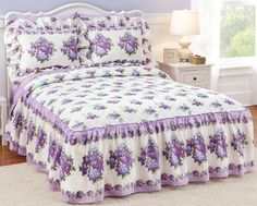Lilac Beauty Quilt Top Bedspread with Ruffle Skirt