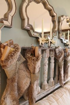 Hammers and High Heels: Bachman's 2011 Holiday Idea House: The Elegance of Winter Shabby Chic Christmas, Woodland Christmas, Christmas Love, Christmas Holidays, Christmas Decor, Christmas Stockings, Country Christmas, Happy Holidays, Vintage Christmas