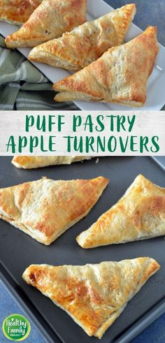 These apple turnovers are so easy to make for a quick treat your family will love. Apples are cooked with a little brown sugar and cinnamon, wrapped in puff pastry and baked to golden perfection. Apple Turnovers With Puff Pastry, Frozen Puff Pastry, Puff Pastry Sheets, Healthy Dessert Recipes, Easy Desserts, 4 Ingredient Recipes, Thing 1, Baked Apples, Tasty Dishes