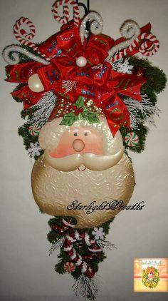 Santa Swag Wreath Artificial Pine Teardrop by StarlightWreaths