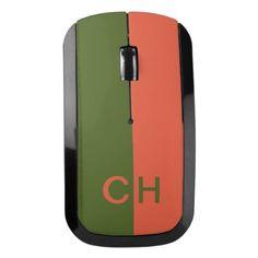 #trendy - #Orange & Green Stripes custom monogram mouse