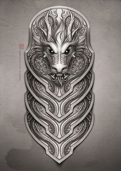 A commissioned Chinese dragon design for a half-sleeve tattoo. The dragon& head was modified a few times before the final design was settled upon. Schulterpanzer Tattoo, Maori Tattoos, Norse Tattoo, Marquesan Tattoos, Celtic Tattoos, Viking Tattoos, Body Art Tattoos, Warrior Tattoos, Polynesian Tattoos