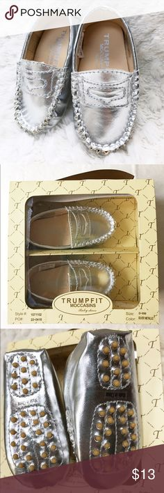 Silver Baby Moccasins (0-6m) Adorable silver baby moccasins by Trumpfit. Brand new, never worn. Comes in original box (box has wear from storage). Vegan, non-leather. Shoes Moccasins