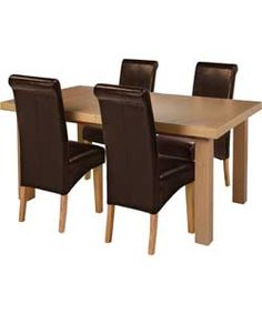 Buy Wickham Oak Dining Table & 4 Chocolate Leather Effect Chairs at Argos.co.uk, visit Argos.co.uk to shop online for Dining sets