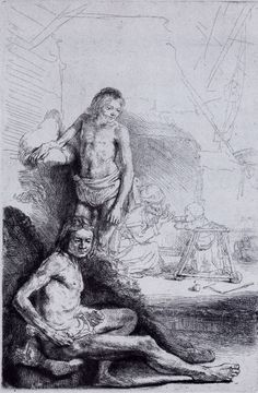 Rembrandt | A Young Man Seated And Standing | Etching | B. 194 [The Walking Trainer] An unusual composition also known as 'The Go-Cart'.  Note the woman in the background right, with delicately etched child in the baby walker, coaxing the child to walk towards her.  The semi-nude young men are very contemporary in style wearing curious loin-clothes.