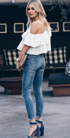 Lauren Bushnell + chunky blue suede heels + buckle detailing + white outline + skinny + faded denim jeans + off the shoulder floaty white top + perfect spring style!  Top: Melissa Buaitellier, Jeans: Zara.