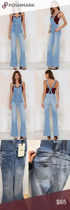Rolla's East Cost Denim Flare Overalls We're head over heels for these hot overalls. The East Coast Denim Overalls by Rolla's come in super soft and stretchy light blue denim and feature a bodycon silhouette to the knees, retro wide leg flare, side and back pockets, adjustable straps, plunging back, and front zip closure. Team 'em up with a short-sleeve button up blouse, Mary Jane platforms, and a messy top-knot bun. Brand new with tags currently selling at my store in Sacramento…