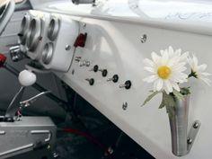 1962 VW bus interior with flower vase