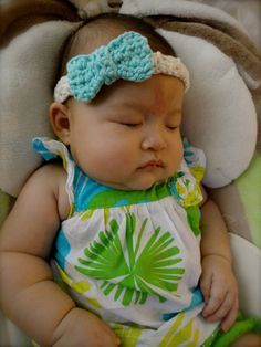 crocheted bow headband
