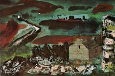 John Piper: Garn Fawr on the road to south Pembrokeshire 1980 Seascape Paintings, Landscape Paintings, Landscapes, John Piper Artist, Artist Painting, Impressionist, New Art, Printing On Fabric, Abstract Art
