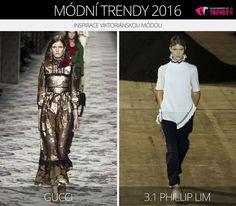 Módní trendy 2016 – inspirace viktoriánskou módou. (Zleva: Gucci a 3.1 Phillip Lim.)