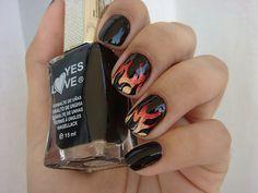Fire nail #Black #Yellow #Orange