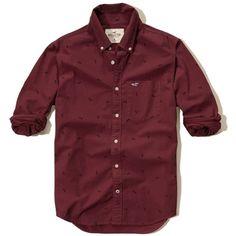 Hollister Patterned Poplin Shirt ($22) ❤ liked on Polyvore featuring men's fashion, men's clothing, men's shirts, men's casual shirts, men, men's tops, burgundy, men's geometric print shirt, burgundy mens shirt and mens print shirts