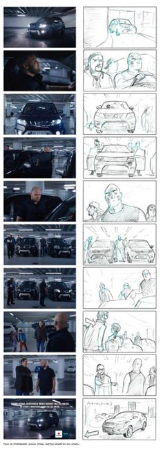 Storyboard vs. actual film. Suzuki commercial. Directed by Magnus Millang. Production: Hjaltelin Stahl. Storyboard by Ole Comoll.