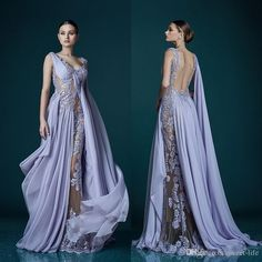 Deep V Neck Lavender Evening Dresses With Wrap Appliques Sheer Backless Celebrity Dress Evening Gowns 2019 Stunning Chiffon Long Prom Dress Second Hand Evening Dresses Sexy Long Evening Dresses From Sweet Life, $114.88  DHgate.Com