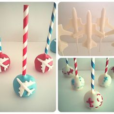 Airplane themed party cakepops by Evie and Mallow Airplane chocolates by Evie and Mallow