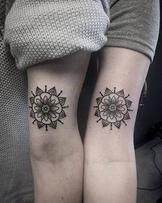 Matching mandalas for some sisters by @joshulagriswald #mandala #mandalatattoo #sistertattoos #m ...