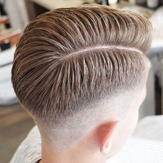 Mid Skin Fade + Hard Part Comb Over