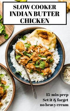 Slow cooker butter chicken recipe: A put-everything-and-forget-about-it kind of Indian crock pot dish for busy people, who love to eat good food. Soft and buttery chicken breasts cooked in slow cooker for 6 hours for perfection. #butterchicken #slowcooker #Indianfood #Indiancurry #foolproofliving Healthy Slow Cooker, Slow Cooker Recipes, Crockpot Recipes, Healthy Recipes, Cooking Recipes, Healthy Weeknight Dinners, Easy Dinners, Indian Butter Chicken, Healthy Chicken Dinner